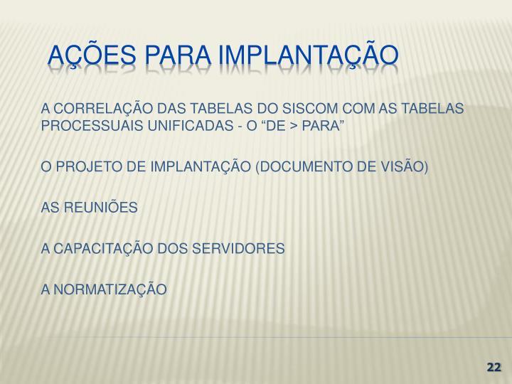 """A CORRELAÇÃO DAS TABELAS DO SISCOM COM AS TABELAS PROCESSUAIS UNIFICADAS - O """"DE > PARA"""""""