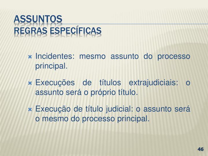 Incidentes: mesmo assunto do processo principal.