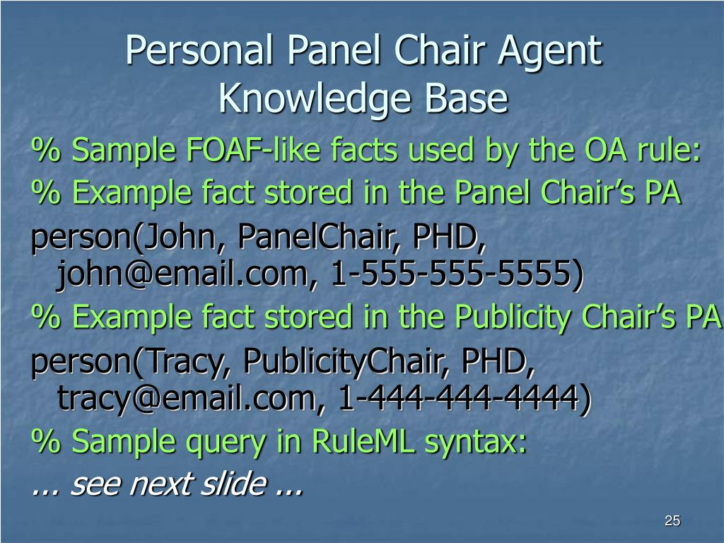 Personal Panel Chair Agent Knowledge Base