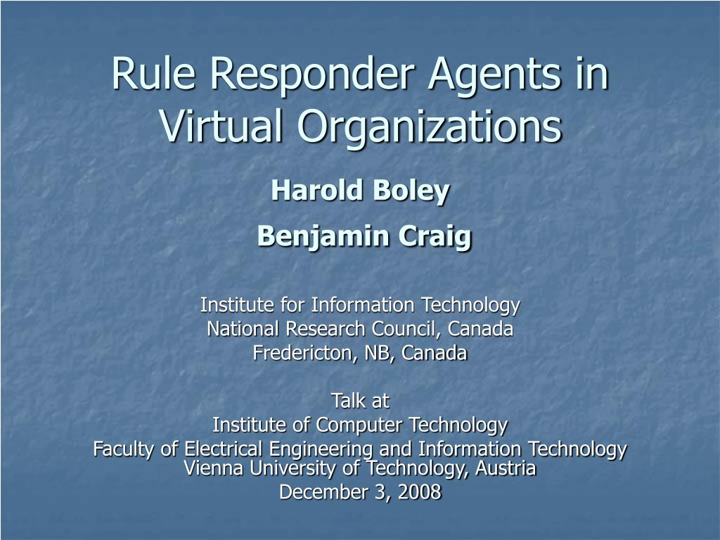 Rule Responder Agents in