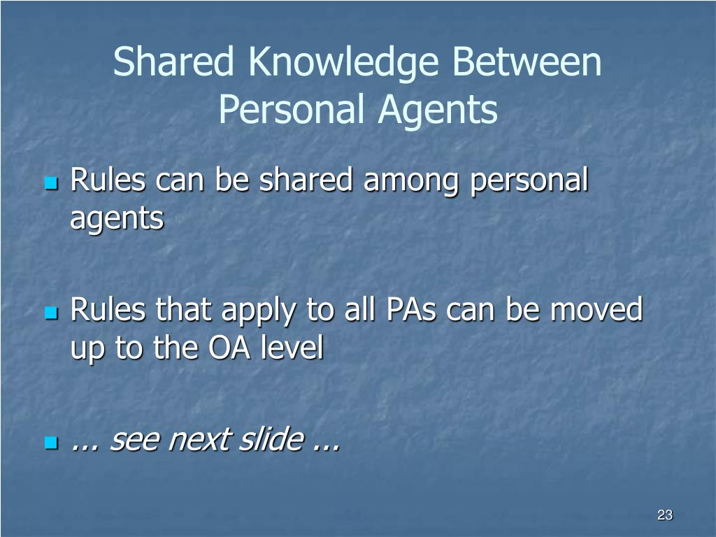 Shared Knowledge Between Personal Agents