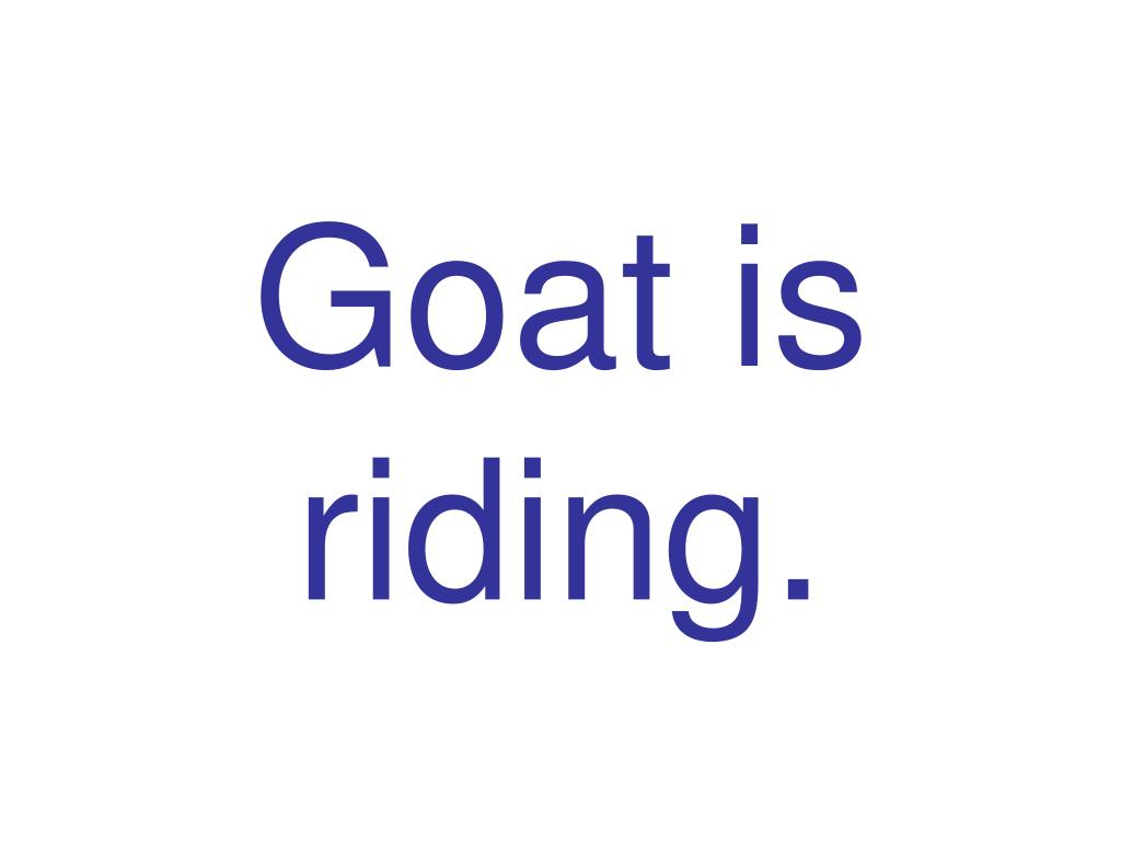 Goat is riding.