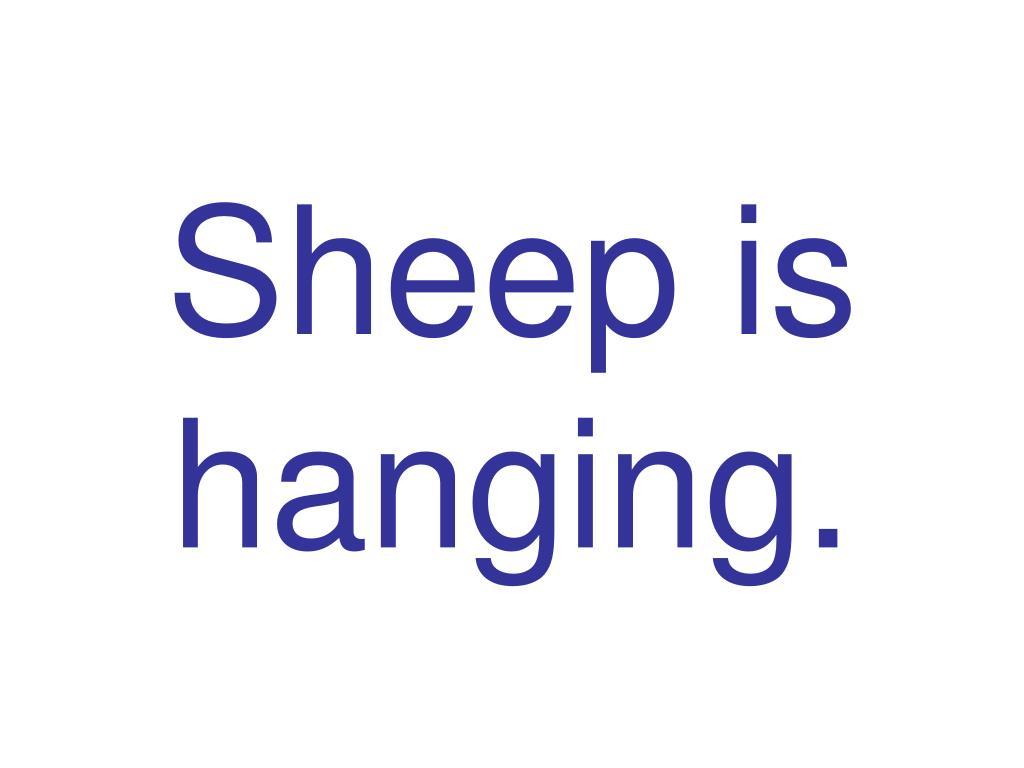 Sheep is hanging.
