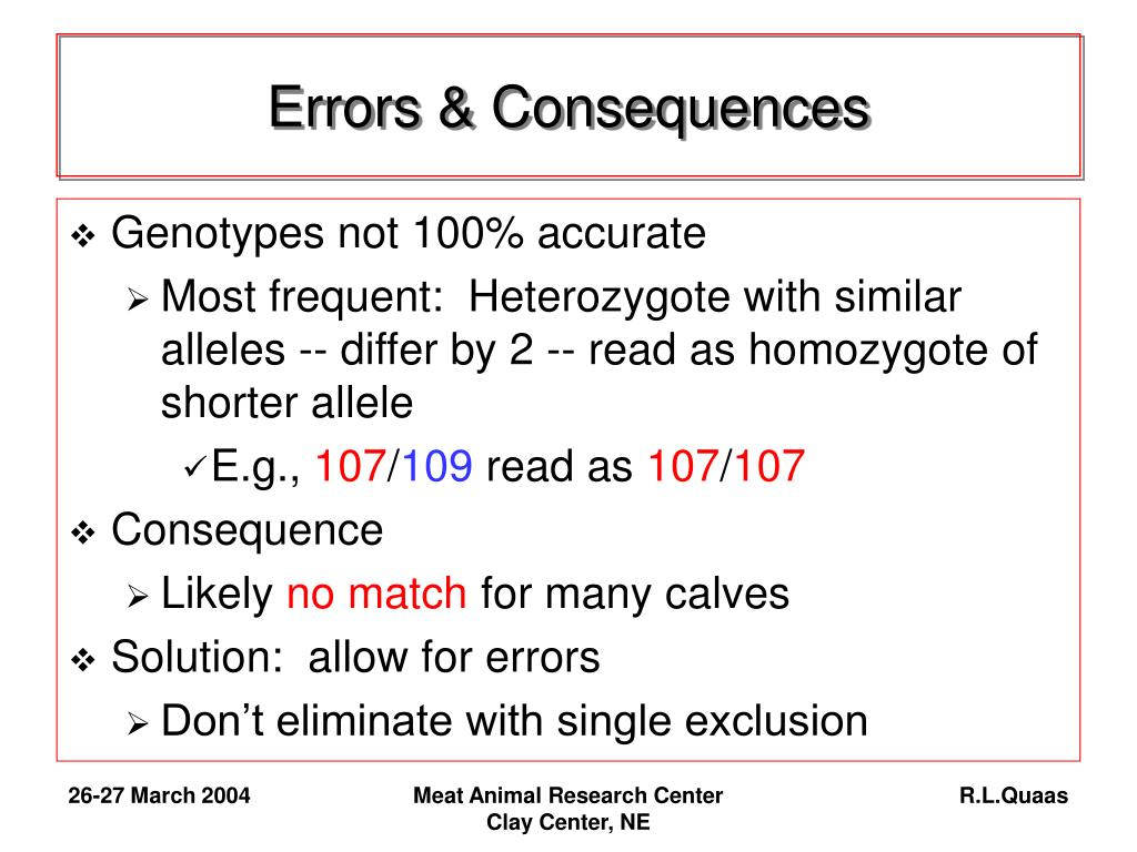 Errors & Consequences