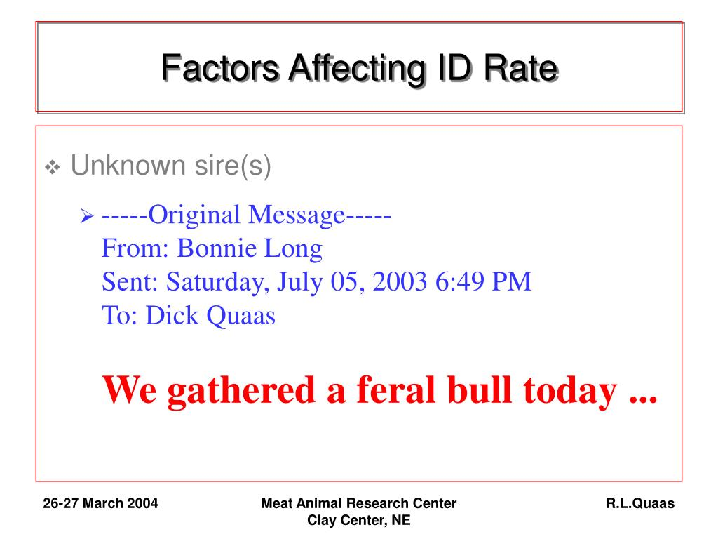 Factors Affecting ID Rate