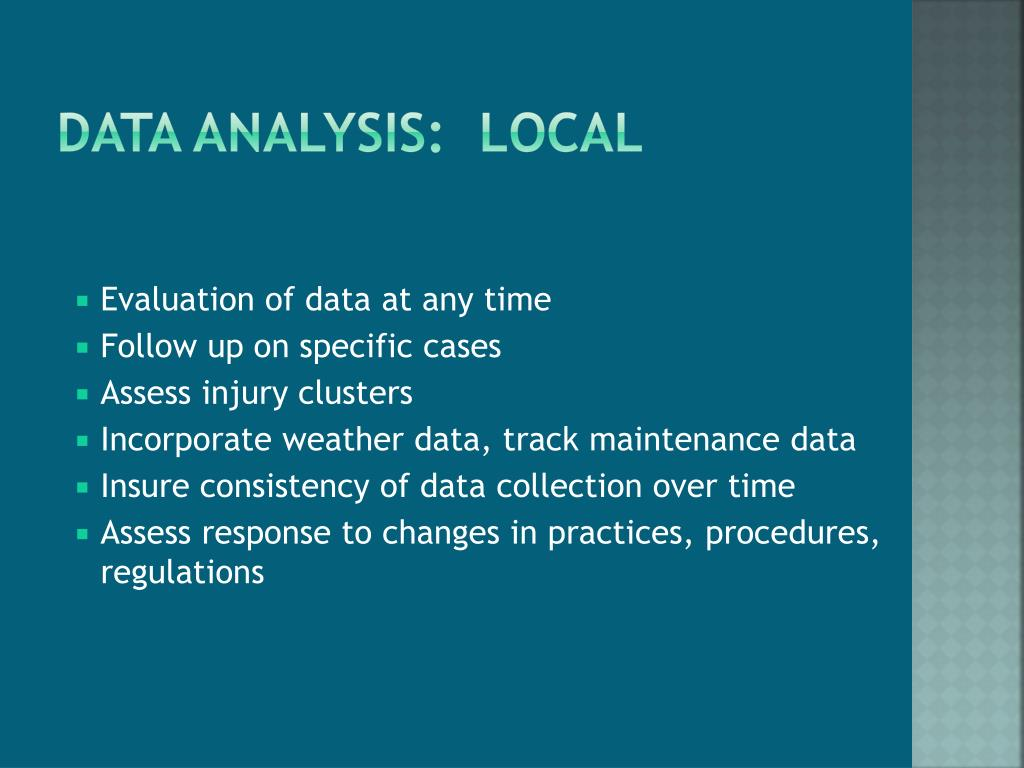 Data analysis:  Local