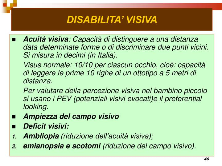 DISABILITA' VISIVA