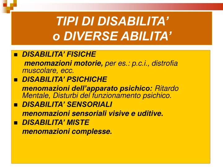 TIPI DI DISABILITA'