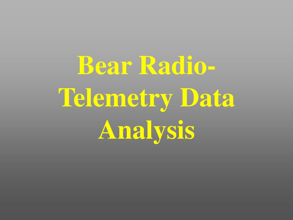Bear Radio-Telemetry Data Analysis