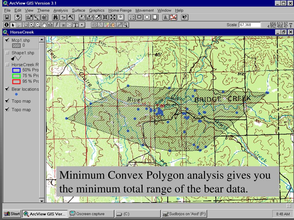 Minimum Convex Polygon analysis gives you the minimum total range of the bear data.
