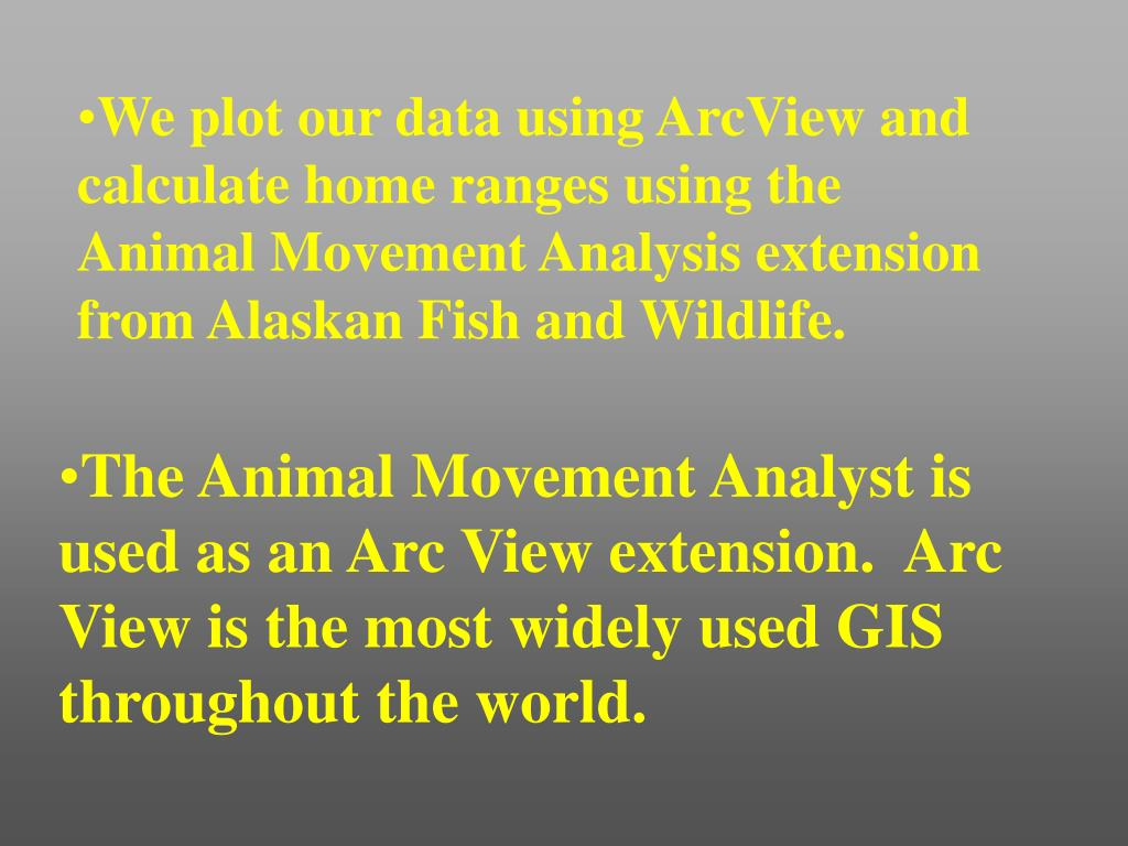 We plot our data using ArcView and calculate home ranges using the Animal Movement Analysis extension from Alaskan Fish and Wildlife.