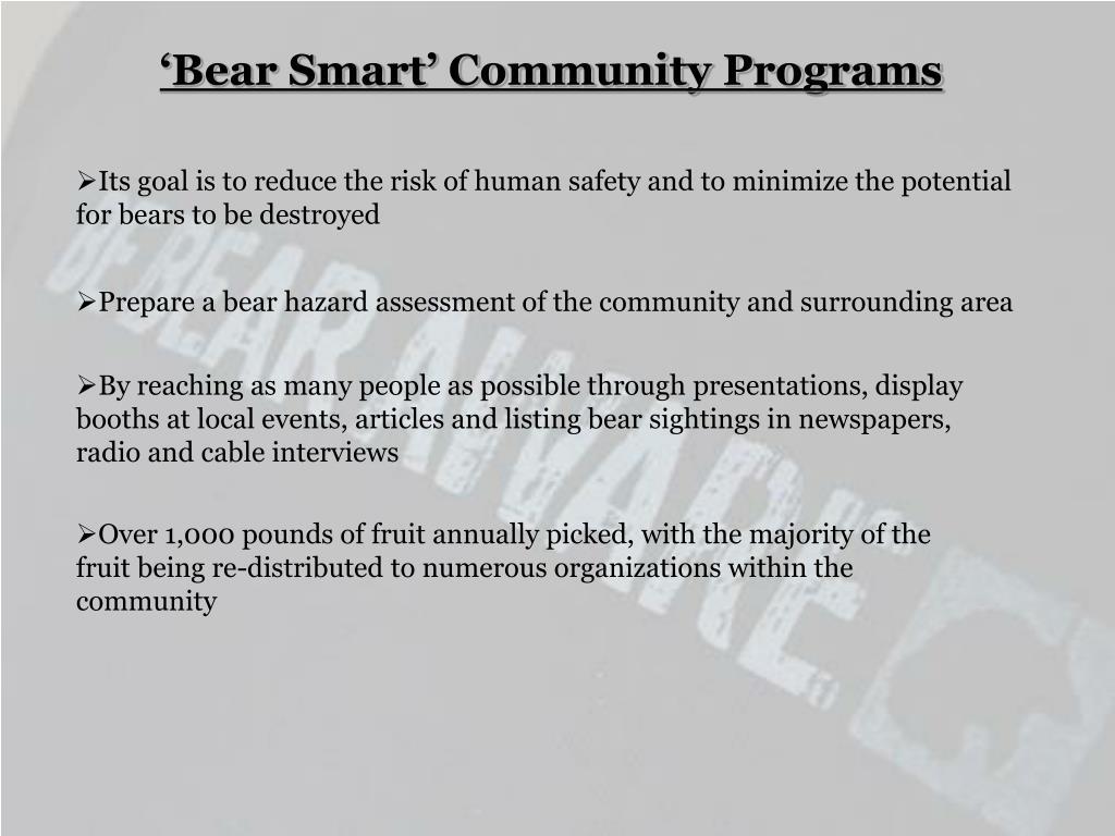 'Bear Smart' Community Programs
