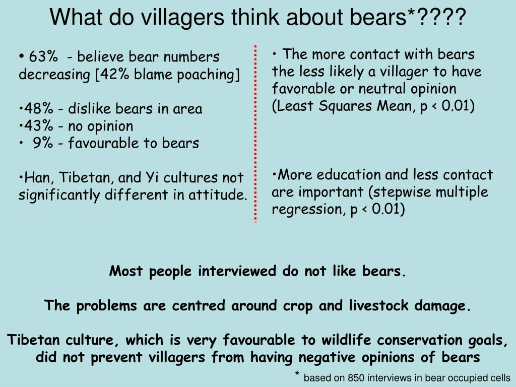 What do villagers think about bears*????