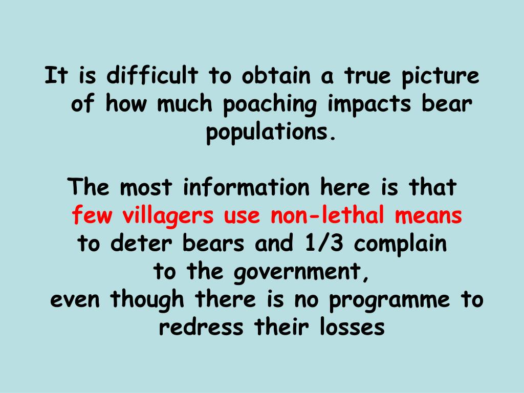 It is difficult to obtain a true picture of how much poaching impacts bear populations.