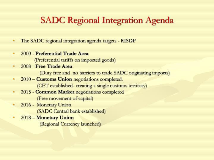 SADC Regional Integration Agenda