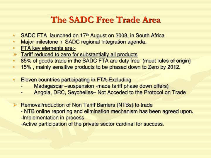 The SADC Free Trade Area