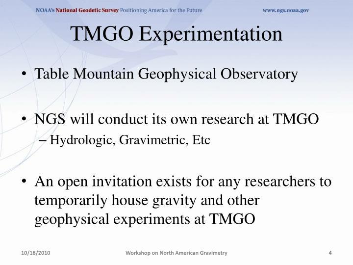 TMGO Experimentation