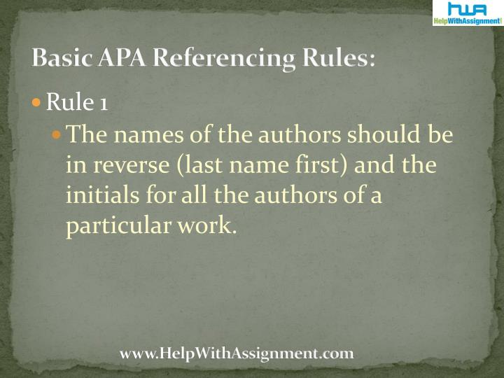 Basic apa referencing rules