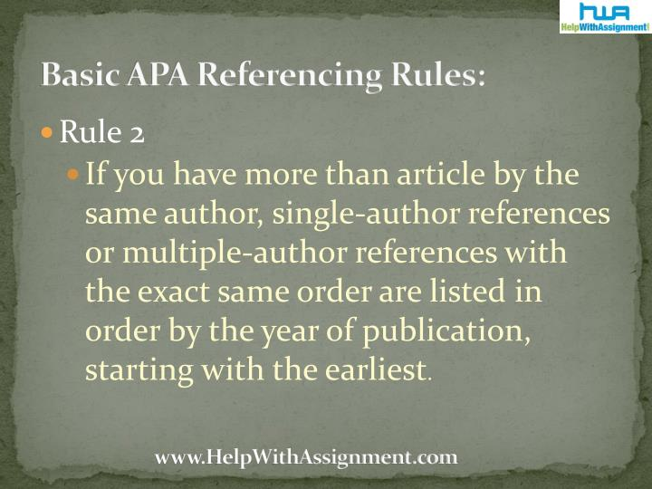 Basic APA Referencing Rules: