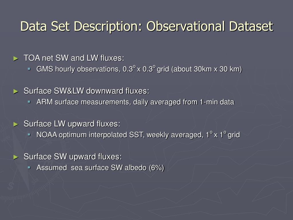 Data Set Description: Observational Dataset