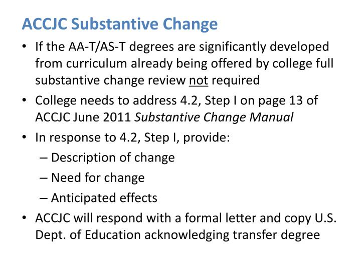 ACCJC Substantive Change