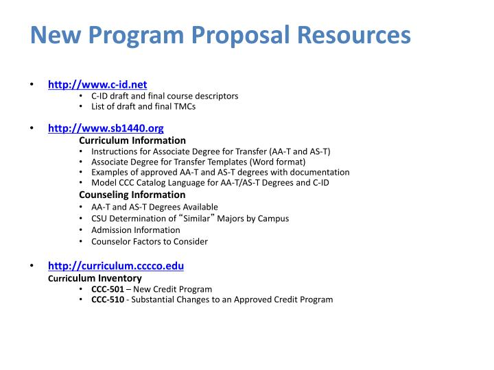 New Program Proposal Resources
