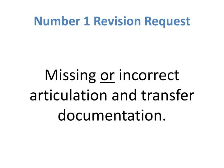 Number 1 Revision Request
