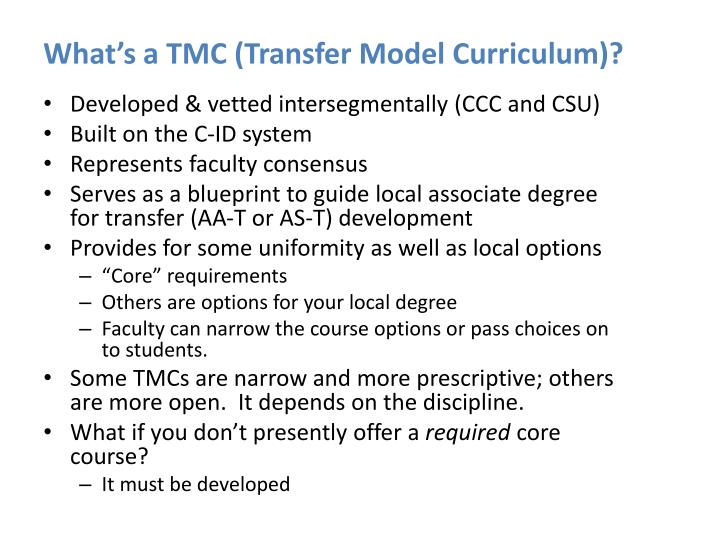 What's a TMC (Transfer Model Curriculum)?