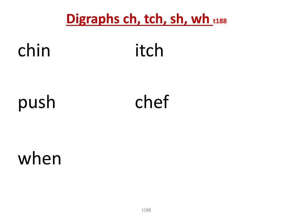 Digraphs ch, tch, sh, wh