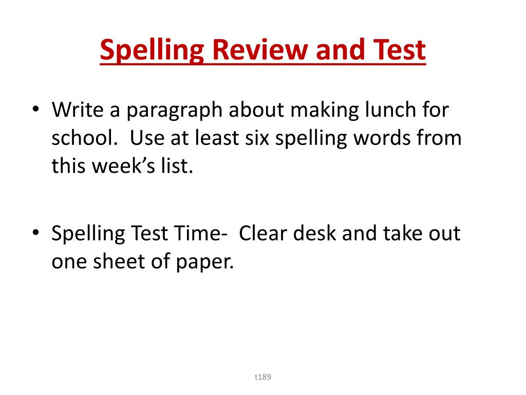 Spelling Review and Test