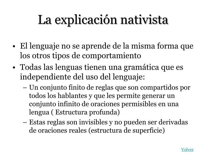 La explicación nativista
