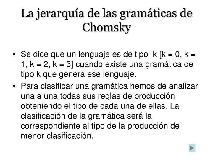 La jerarquía de las gramáticas de Chomsky