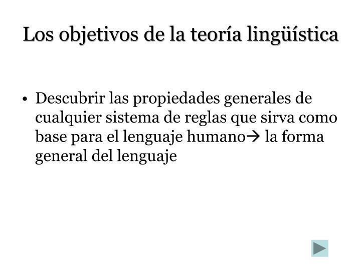 Los objetivos de la teoría lingüística