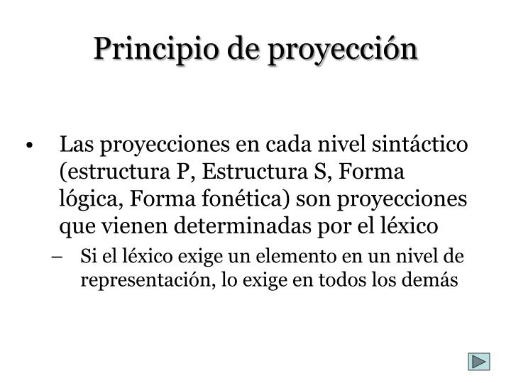 Principio de proyección