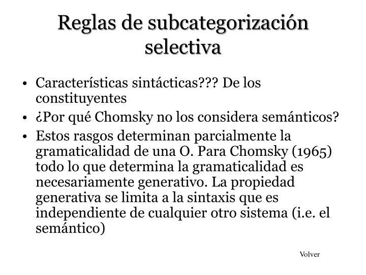 Reglas de subcategorización selectiva