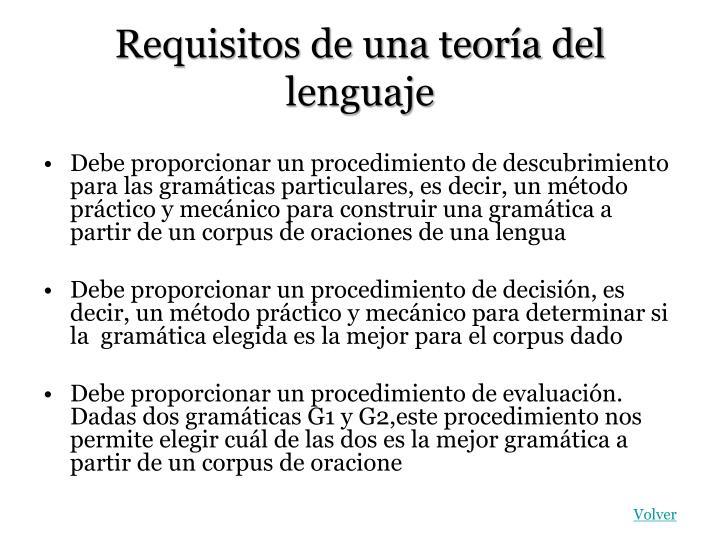 Requisitos de una teoría del lenguaje