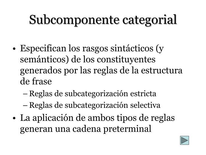 Subcomponente categorial