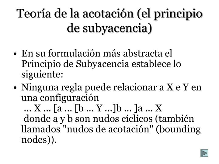 Teoría de la acotación (el principio de