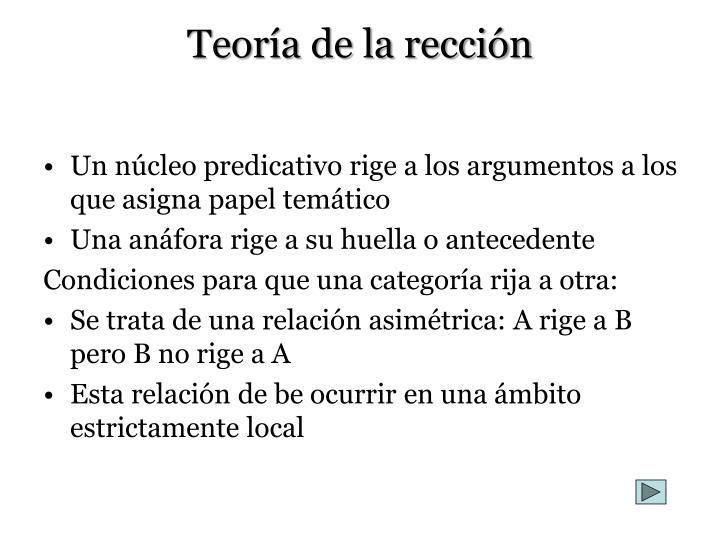 Teoría de la rección