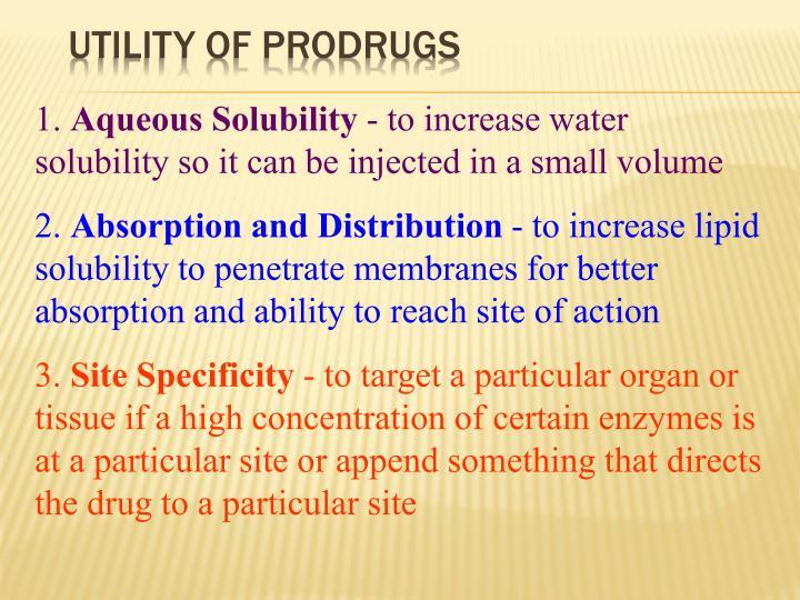 Utility of Prodrugs