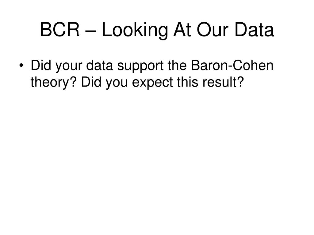 BCR – Looking At Our Data