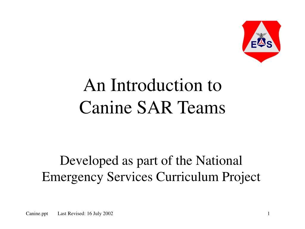 an introduction to canine sar teams