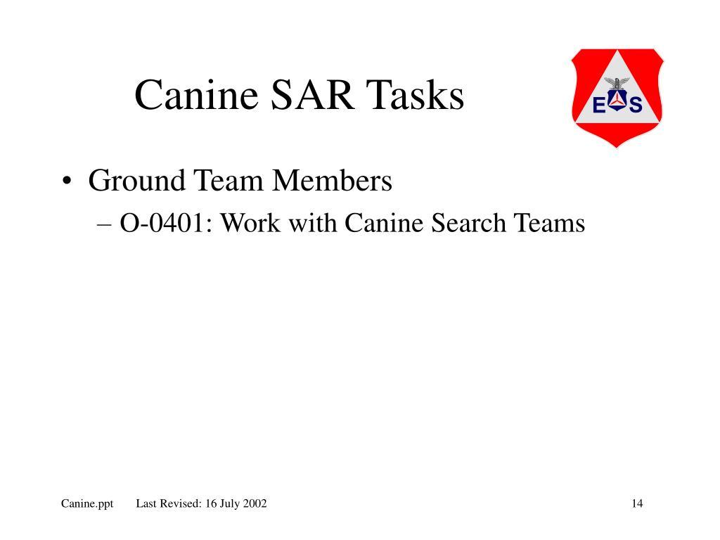Canine SAR Tasks