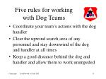 five rules for working with dog teams