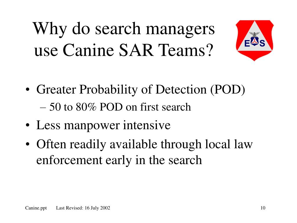 Why do search managers use Canine SAR Teams?