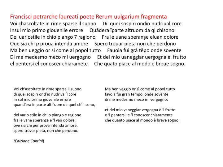 Francisci petrarche laureati poete Rerum uulgarium fragmenta