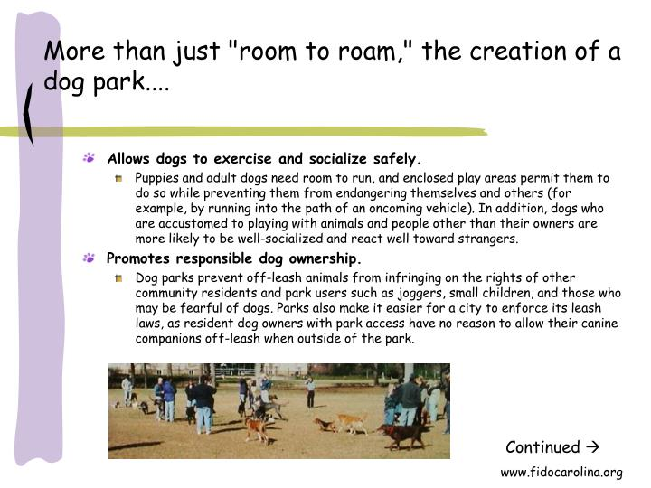 More than just room to roam the creation of a dog park
