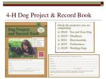 4 h dog project record book