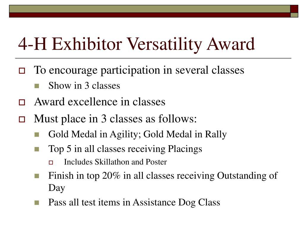 4-H Exhibitor Versatility Award
