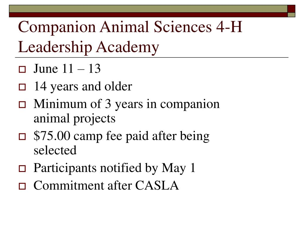 Companion Animal Sciences 4-H Leadership Academy
